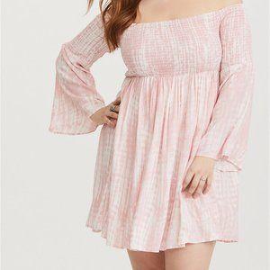 Torrid Dress 1X Pink & White Tie Dye Smocked